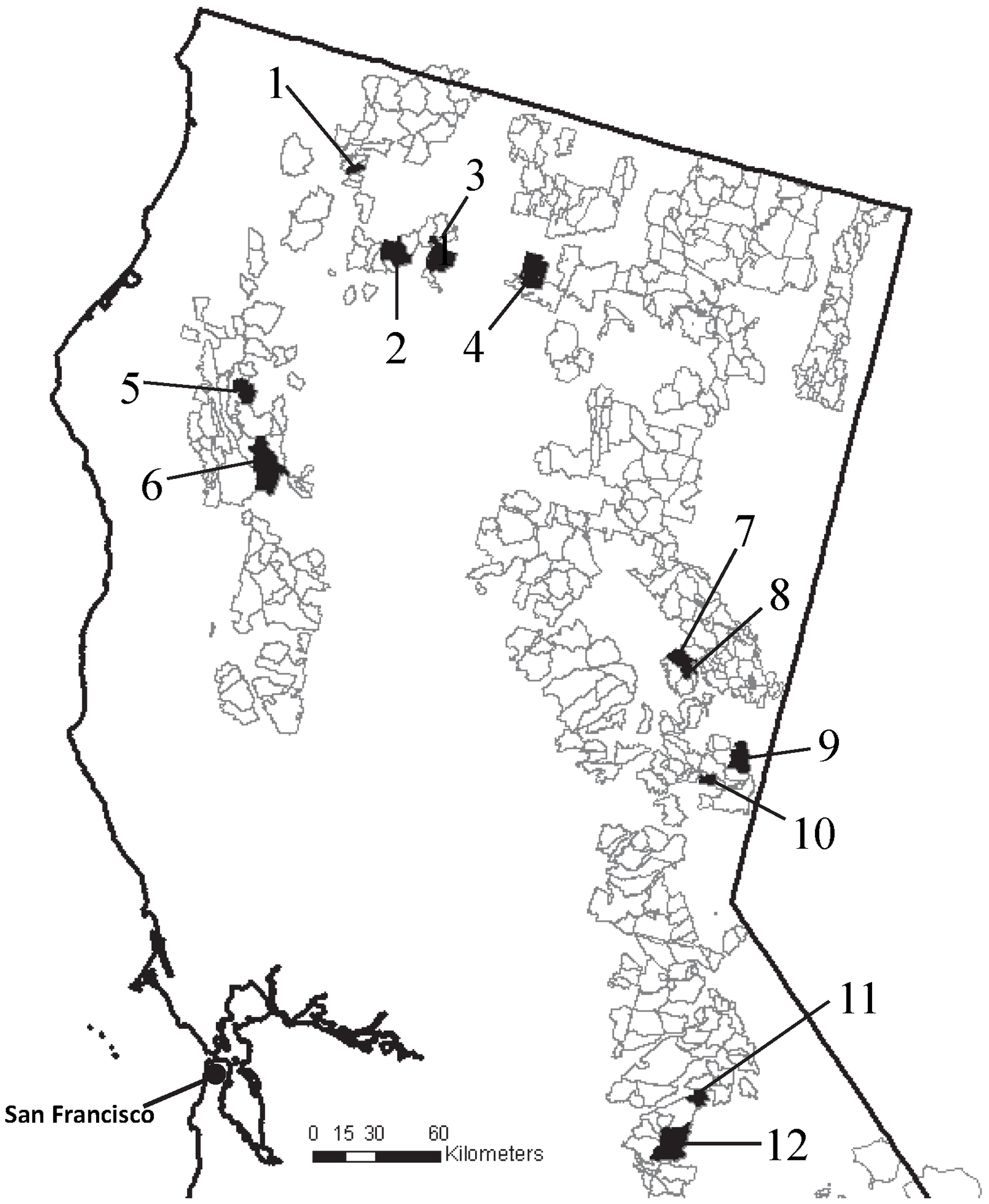 The 12 U S Forest Service Grazing Allotments Shaded Polygons In Northern California Enrolled In The Cross Sectional Longitudinal Study Of Stream Water